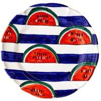 Cerasella Italia s.r.l. - le tue ceramiche di qualità. Piatto Tondo a Righe con fantasia florale : Anguria a spicchi.