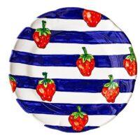 Cerasella Italia s.r.l. - le tue ceramiche di qualità. Piatto Tondo a Righe con Frutta