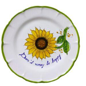 Cerasella Italia s.r.l. - le tue ceramiche di qualità. Piatto con Girasole e Motto